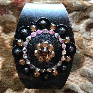 Artisan Leather Bracelet w/ Swarovski Crystals.
